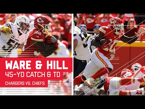 Spencer Ware's Catch & Run Leads to Tyreek Hill's Screen Catch TD!  | Chargers vs. Chiefs | NFL
