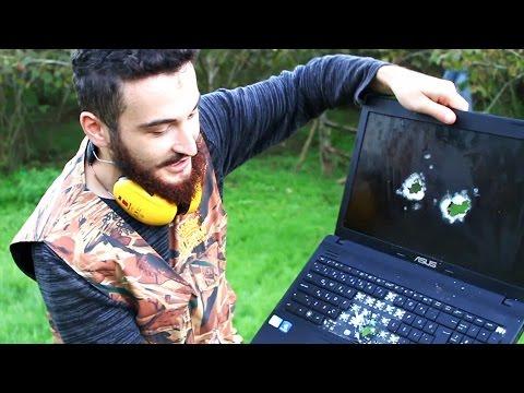 pompali tüfekle laptop parçalama  shotgun vs laptop