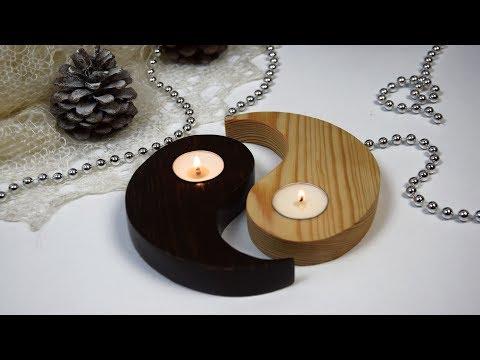 DIY Новогодний декор#Как сделать подсвечники своими руками#Поделки из дерева