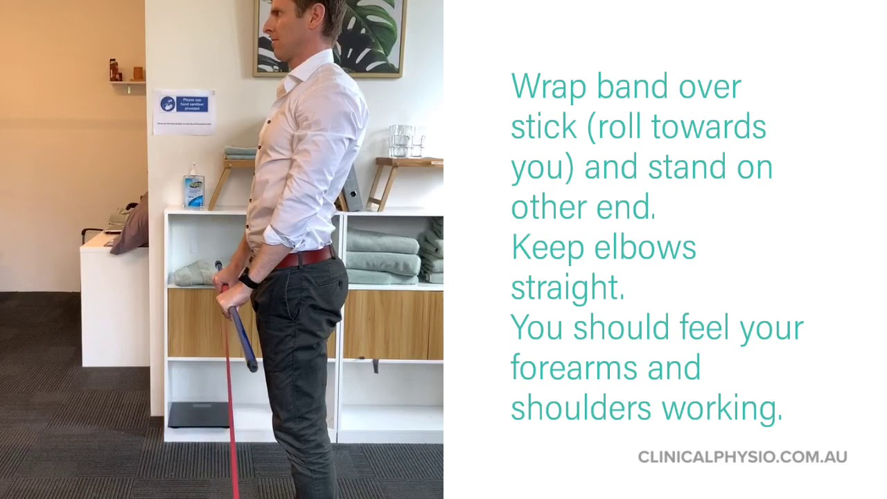 Banded Forward Shoulder Raise (For Tennis Elbow and Rotator Cuff)