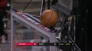 Shortly after Spurs and Raptors let shotclock run down for Kobe the Ball gets stuck on the shotclock