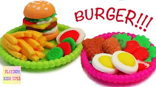 Play-Doh Burger Hamburger Playdough Cooking Games Kitchen PlaySet Doh Food Kids Fun Toys