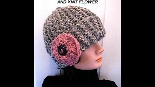 KNIT HAT AND FLOWER, EASY BEGINNER LEVEL, knitting lessons, free pattern