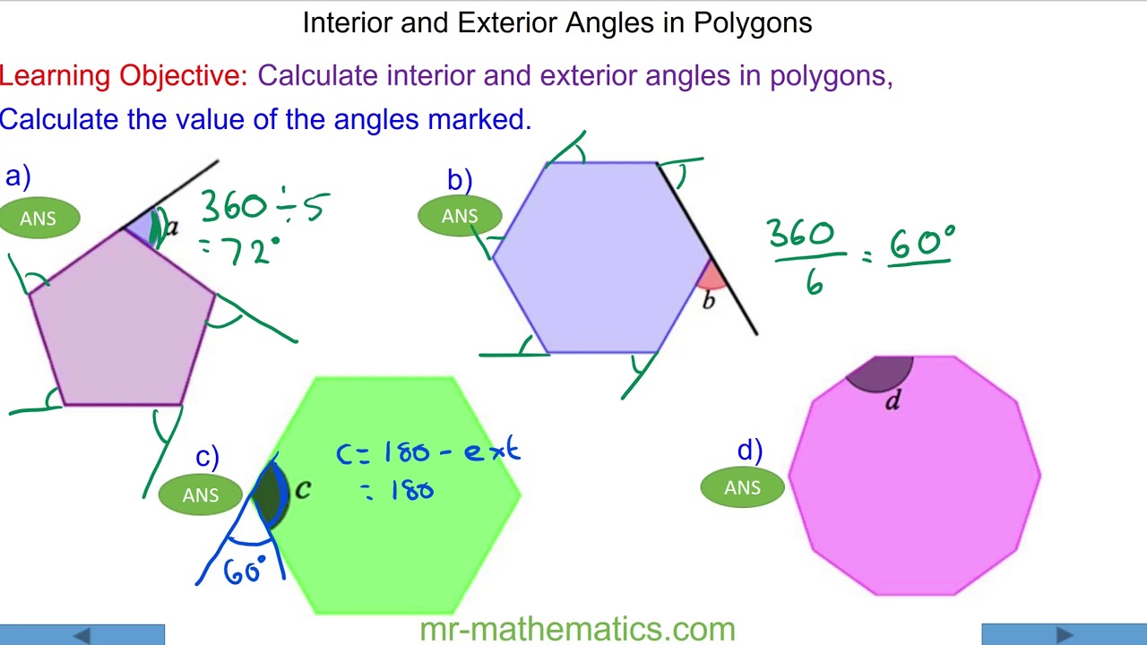 hight resolution of Interior and Exterior Angles