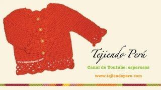 Repeat youtube video Cómo tejer una chaqueta con bordes calados para niñas en crochet