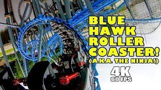 Blue Hawk aka Ninja Roller Coaster! Multi Angle 4K POV! Six Flags Over Georgia