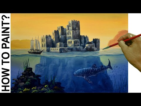 Acrylic Surreal Seascape Painting Tutorial with Castle, Sailing Ship and Underwater Whale Shark