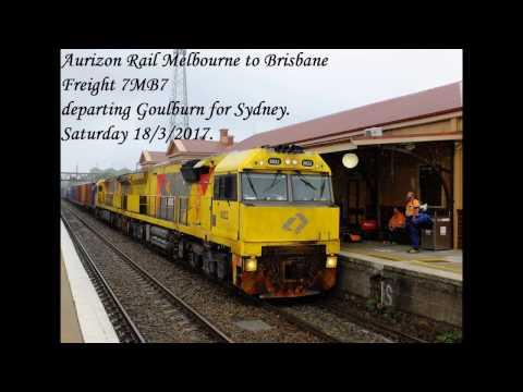 Aurizon freight 7MB7 leaving Goulburn. 18/3/2017