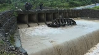 Taiwan Army Tank Falls Off Bridge Into River