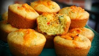 Savory Stuffed Corn Muffins.