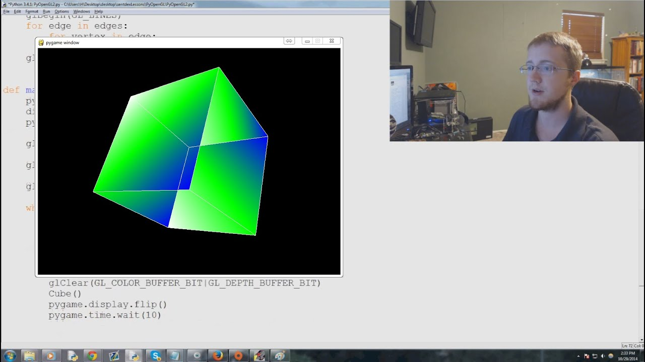 OpenGL with PyOpenGL Python and PyGame p 2 - Coloring Surfaces