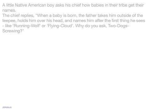 Jokes - A little Native American boy asks his chief how