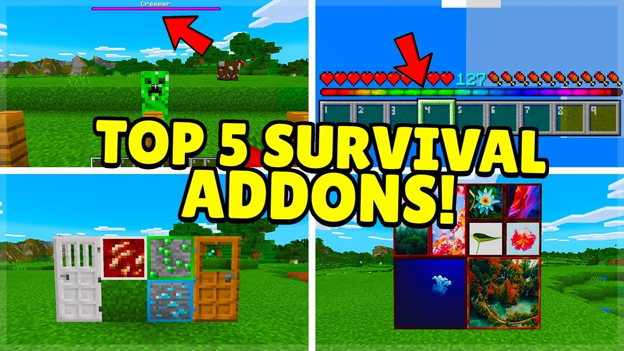 TOP 5 BEST SURVIVAL ADDON For Minecraft Pocket Edition (iOS