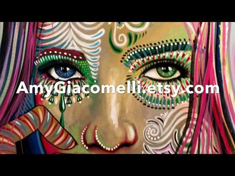 Soul of Sunshine - time lapse portrait painting, modern art by living artist - Amy Giacomelli