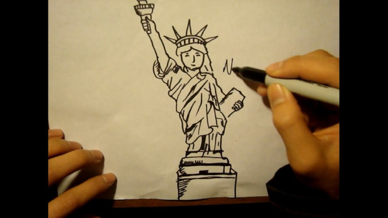 how to draw statue of libertyfacetorchcartoon style youtube