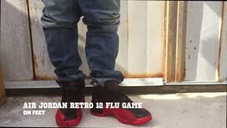 air jordan retro 12 flu game on feet