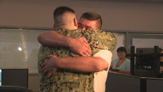 Son surprises dad after 2.5 years away in the Navy
