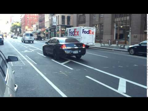 NYPD UNMARKED CRUISER RESPONDING MODIFIED ON WEST BROADWAY IN TRIBECA, MANHATTAN IN NEW YORK CITY.