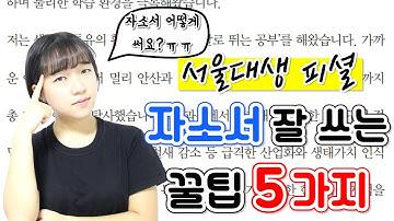 서울대생의 자소서 잘 쓰는 꿀팁 5가지 |소린TV
