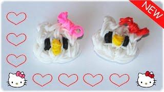 Брелок из резинок Хелло Китти. Фигурка из резинок Hello Kitty Rainbow Loom(В этом видео-уроке: Как сплести из резинок кошечку - Hello Kitty с бантиком на станке. Плетение из резинок фигурок...., 2015-09-26T14:15:09.000Z)
