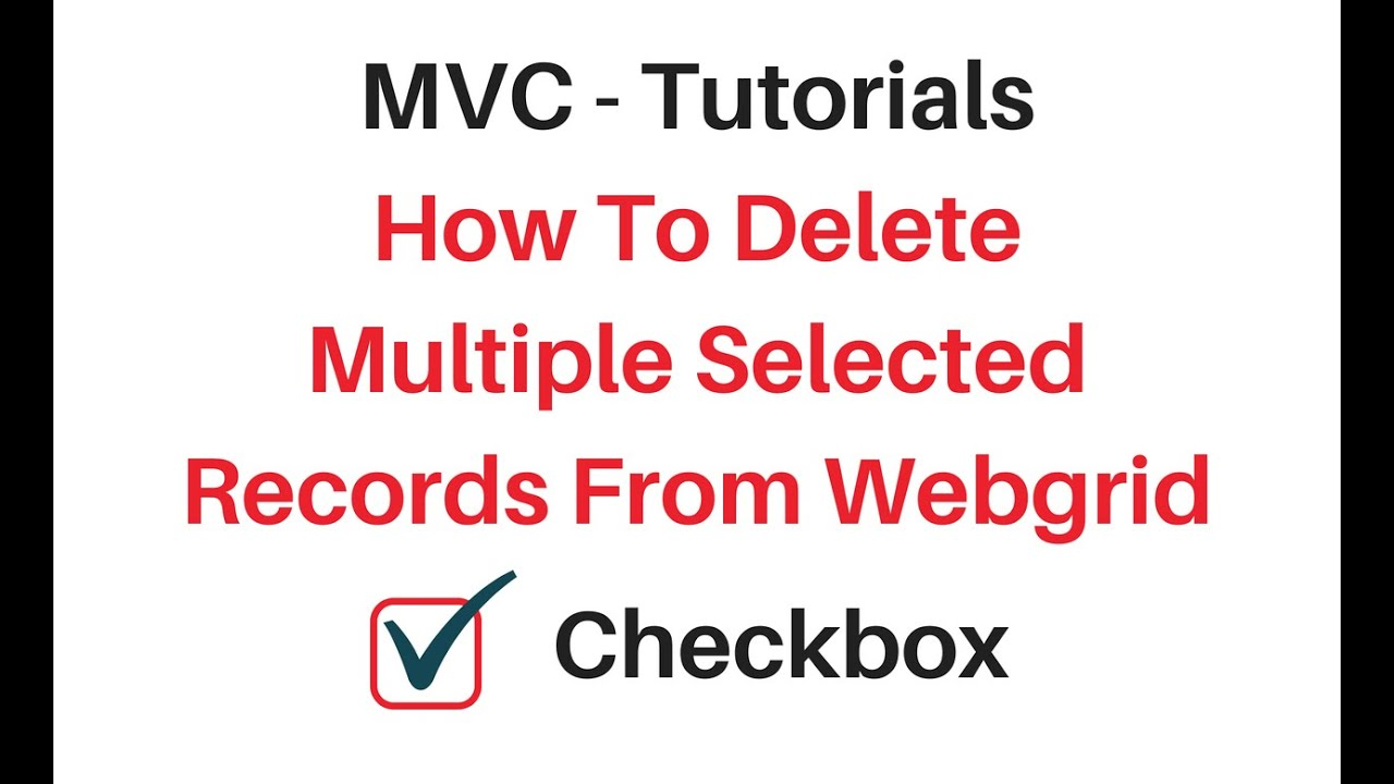 mvc delete multiple rows checkbox example with webgrid
