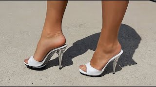 Review Walking Fabulicious Poise-501 White Clear 5 Inch Single Sole High Heel Shoes with Catie