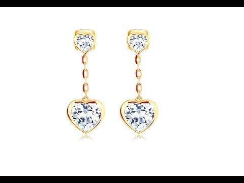 Šperky - Náušnice v žltom 14K zlate - dve číre srdiečka f07b8a8b5bd