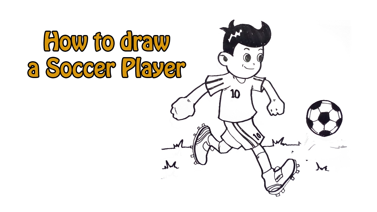 How To Draw A Soccer Player Youtube