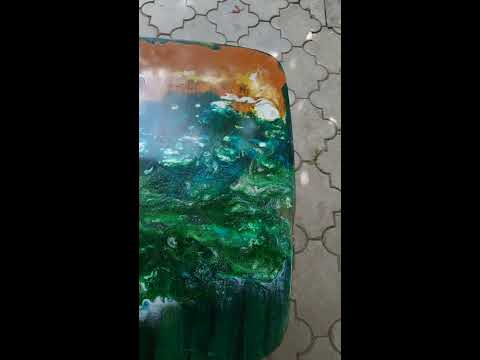 Coffee table with picture from epoxy resin