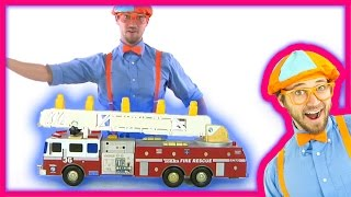 fire truck toy putting out fires and playing with monster truck grave digger   blippi toys