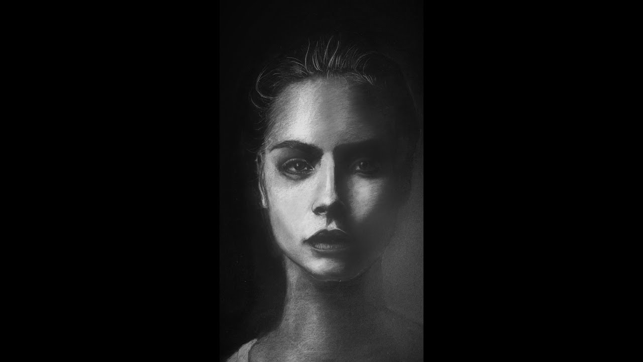 Black And White Pastel Portrait Black And White Photography