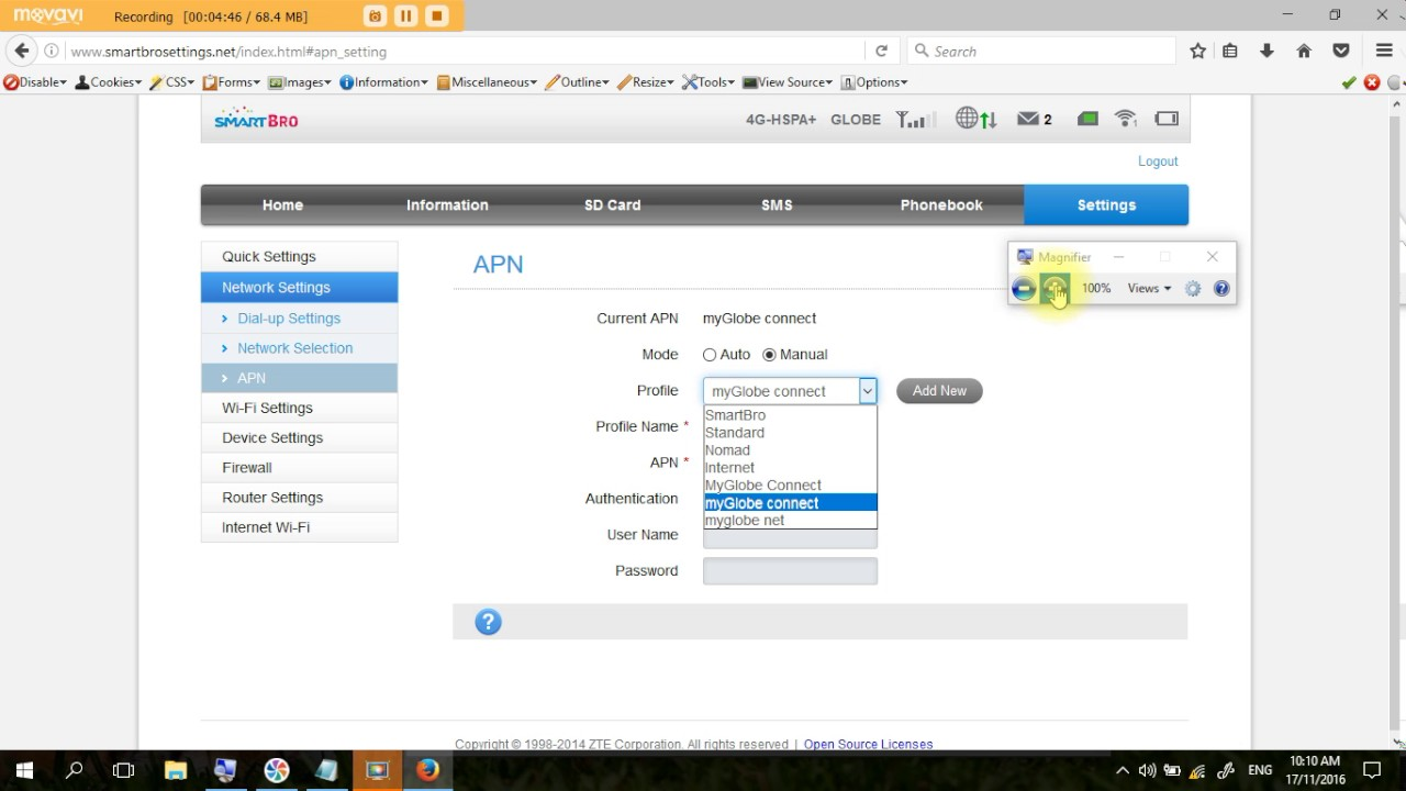 Smart bro ZTE MF65M pocket wifi how to change apn and set to default your  apn