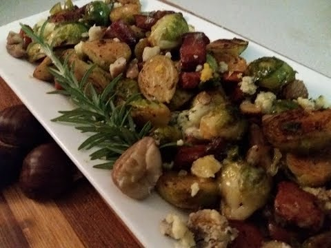 CLEARLY CANADIAN ~BRUSSELS SPROUTS WITH BACON, CHESTNUTS & GORGONZOLA (Chrstmas/Thanksgiving Dish)