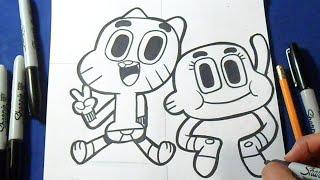 Como desenhar Gumball e Darwin - o incrivel mundo de Gumball