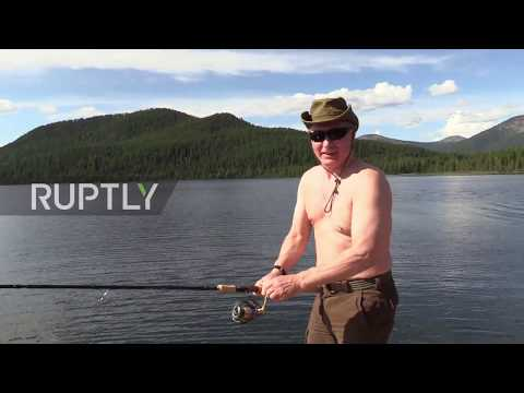 Could Putin be more Putin? Russian president - shades on, shirt off - shows fish what