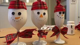 Under $30 DIY Snowman Wine Glasses