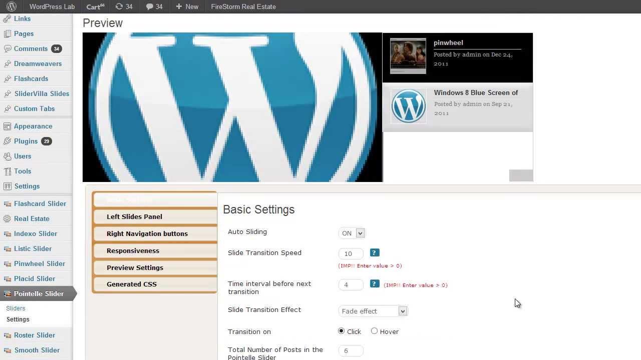 wordpress pointelle slider