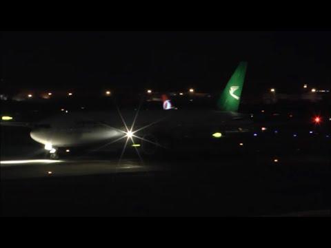 [HD] Turkmenistan Boeing 777-200LR night takeoff at Istanbul Airport - 10/10/2015