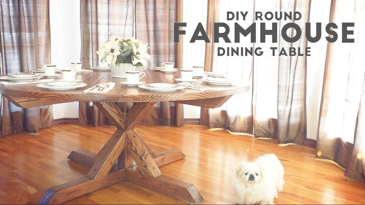 DIY Round Farmhouse Dining Table Modern Builds EP YouTube - Round farm table with leaf