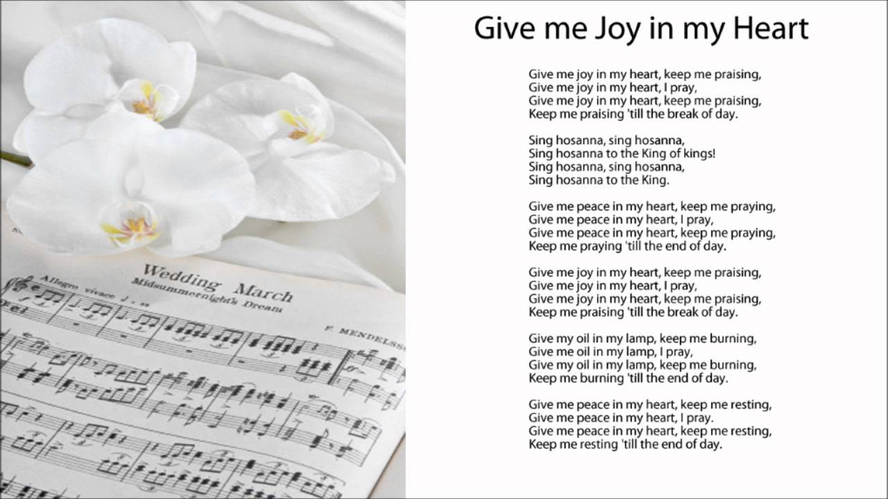 Give Me Joy In My Heart Sing Hosanna W Lyrics Youtube