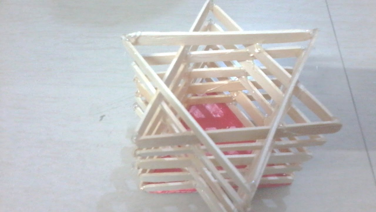 Diy How To Make Star Model Pen Stand Using Popsicle Sticks Youtube