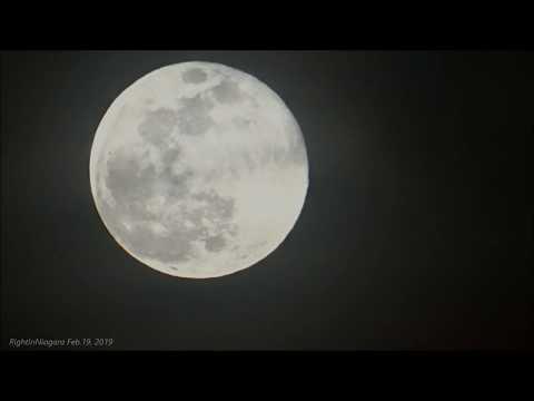Super Snow Moon Rising Over Lake Ontario At Burlington, Ontario, Canada