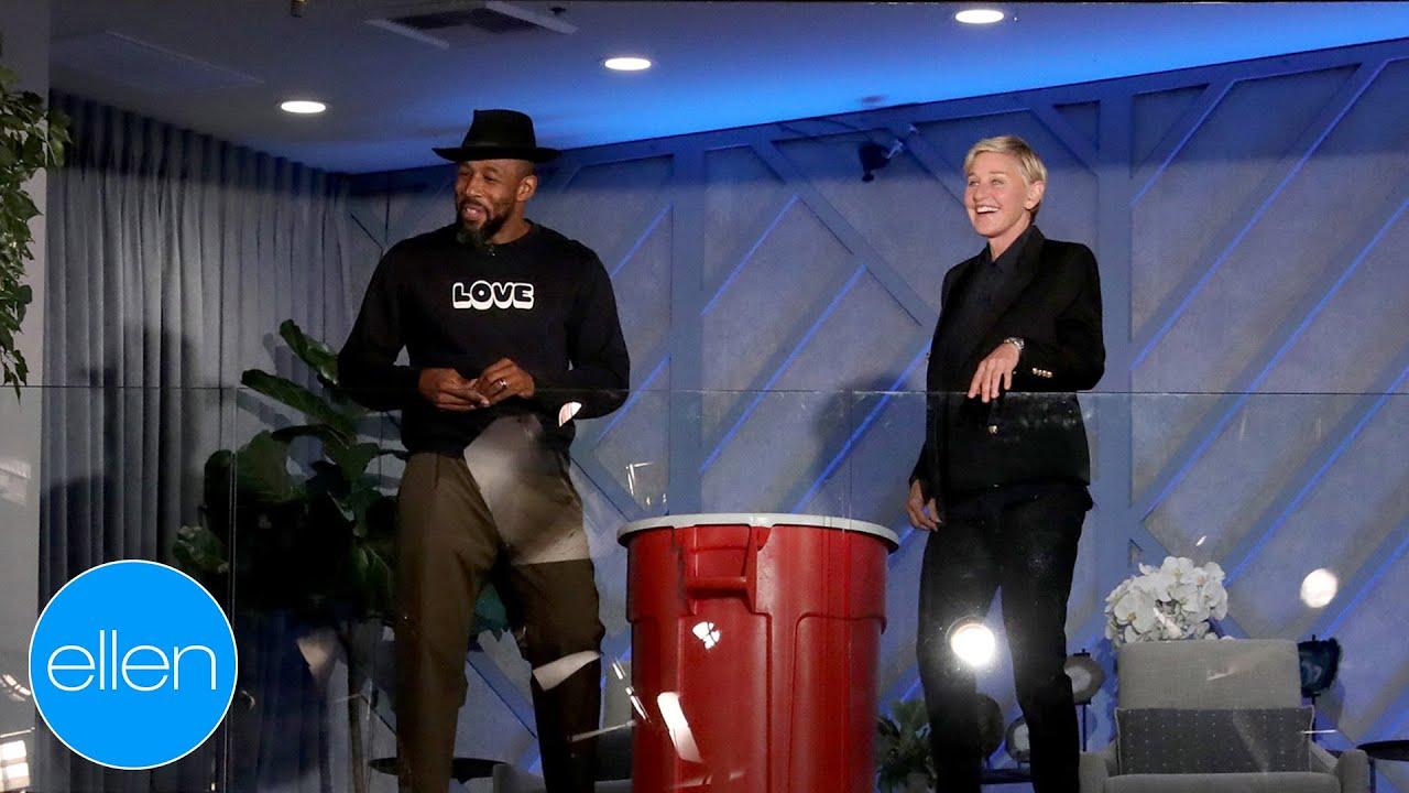 Ellen & tWitch Take Shots in 'Sky Pong'!
