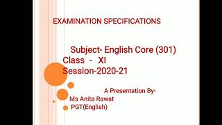 CBSE New Question Paper Pattern of English Core for Class- XI 2020-21