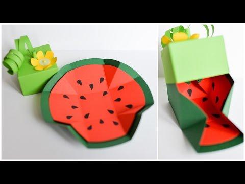 How to Make - Exploding Box Watermelon Birthday Gift - Step by Step DIY | Eksplodujące Pudełko Arbuz