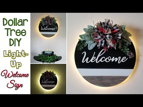 Dollar Tree DIY Light-Up 💡 Welcome Sign