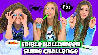 Edible Halloween Slime Challenge!  Making Slime From Halloween Candy!