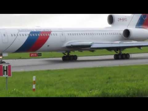 Taxi and Take Off from Warsaw Tupolev 154M Slovakia Government