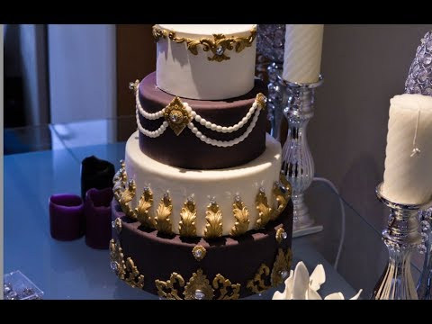 How to Cake it: Purple and Gold Luxurious wedding cake - YouTube