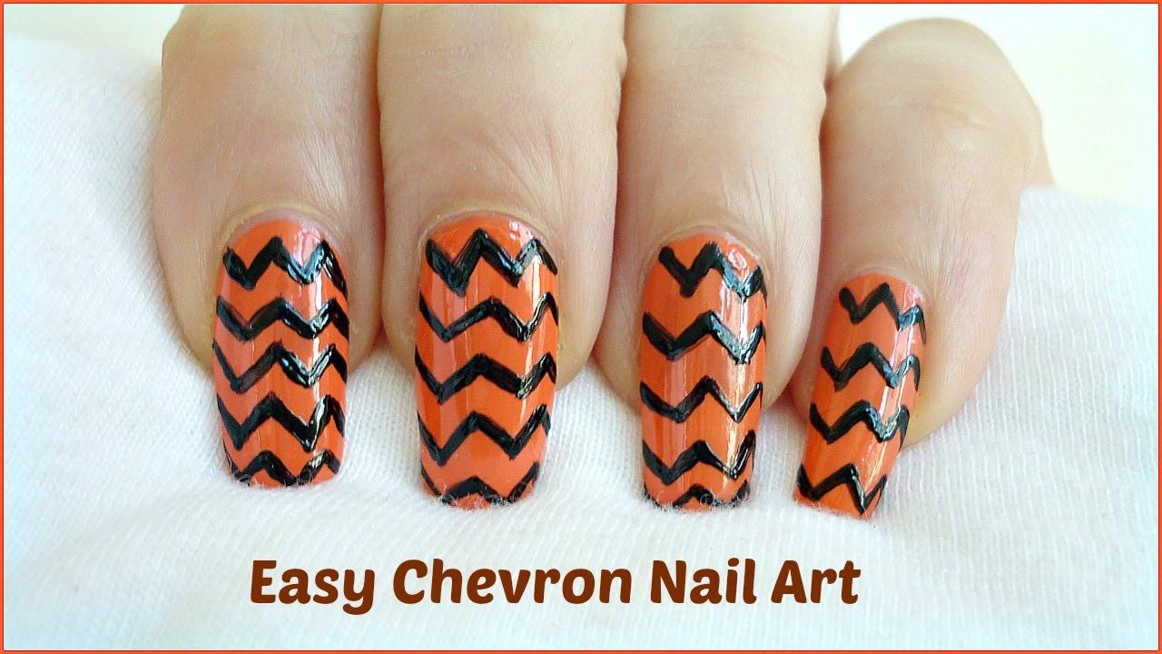 easy chevron nail art freehand